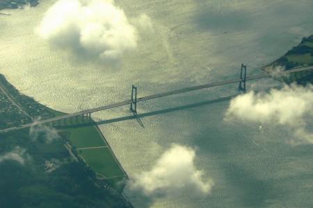 Storbæltsbroen set fra luften